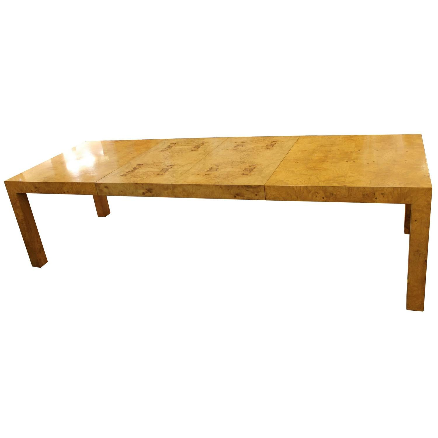 Burl Wood Dining Table With Two Leaves By Milo Baughman At 1stdibs