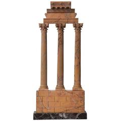 Italian Grand Tour Sienna Marble Model of the Temple of Castor and Pollux