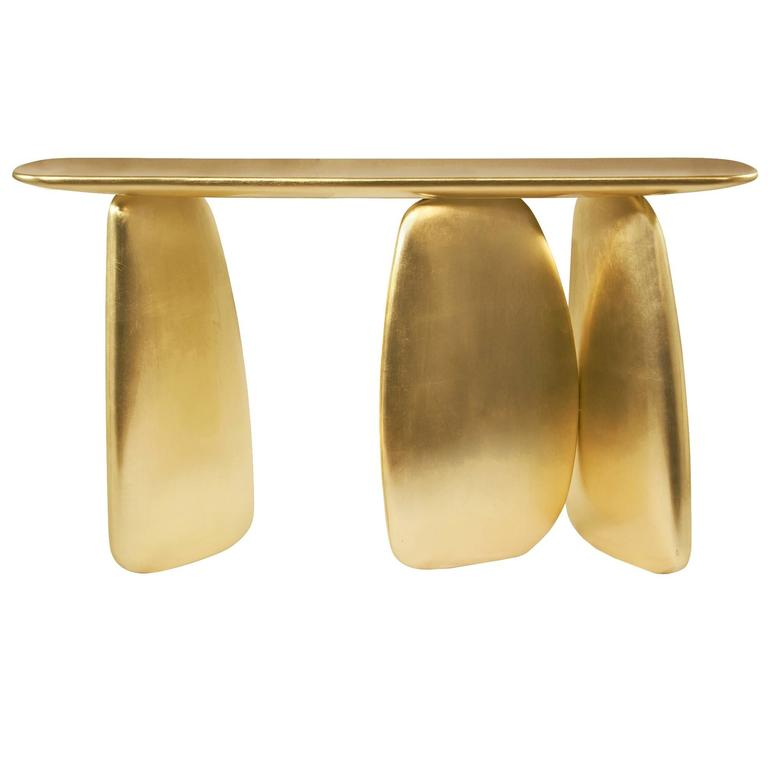 Gold Pebble Console with Gold Leaf 1