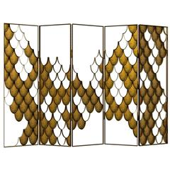Japanese Carpus Screen in Aged Brass