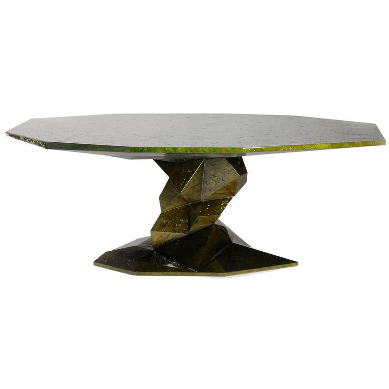 Jungle Green Dinning Table Lacquered Wood Exceptional Piece For Sale