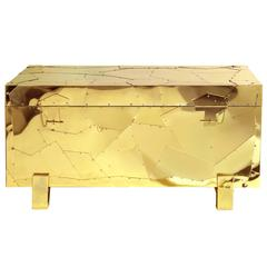 Tresor Chest in Polished Brass and Gloss Varnished