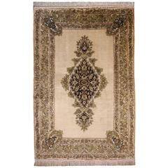 Pure Silk Semi Antique Qum Persian Rug