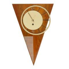 Very Rare Mid-Century Asymmetric Triangle Wall Clock, Vienna, 1950