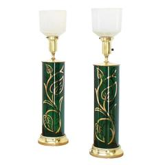 Pair of Emerald Green Gold Decorated Cylinder Shape Table Lamps