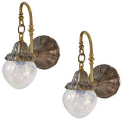 Pair of Early American Art Nouveau Sconces with Crackled Vaseline Glass Shades