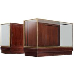 Set of Two Display Counters in Mahogany and Brass