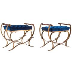 Pair of Striking Velvet Tufted Iron Curule Benches by Borghese
