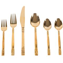 """""""Golden Pompeii"""" Flatware Service for Eight by Stanley Roberts"""