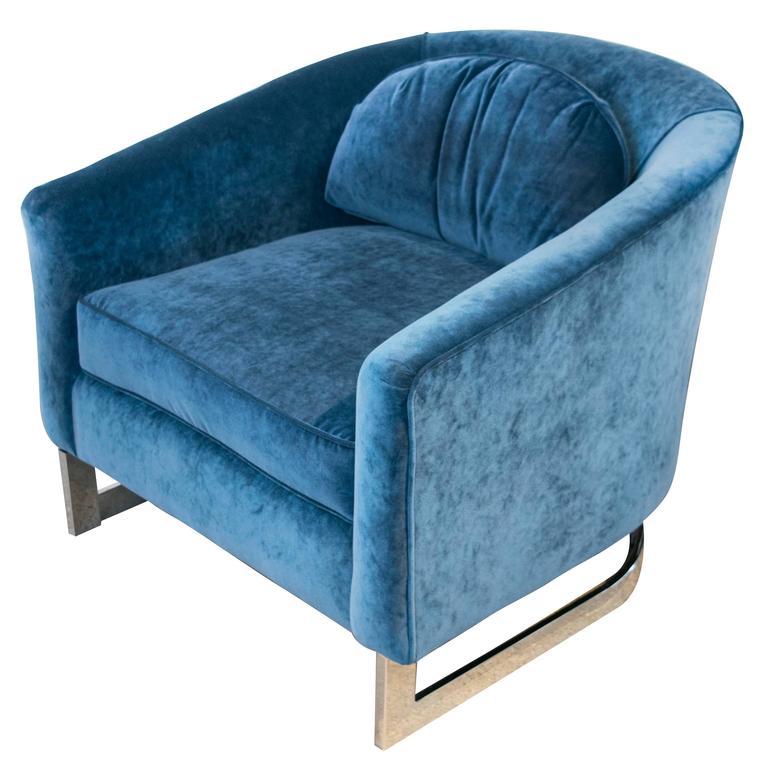 Milo Baughman Blue Velvet and Chrome Club Chair