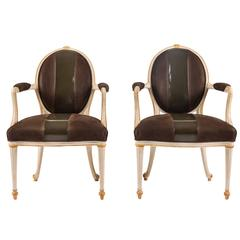 "Pair of Leather Upholstered Fauteuils by William ""Billy"" Haines"