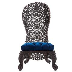 Intricately Carved Anglo-Indian Low Chair