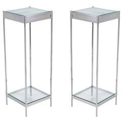 Elegant Pair of Chrome and Glass Light Up Pedestals