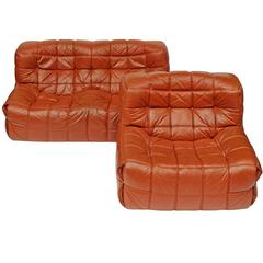 1970s Leather Kashima Sofa and Chair by Michel Ducaroy for Ligne Roset