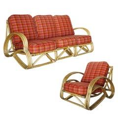 "Restored Three-Strand ""S-Arm"" Rattan Living Room Set"