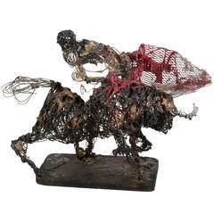 Wire Bull Fighter Sculpture