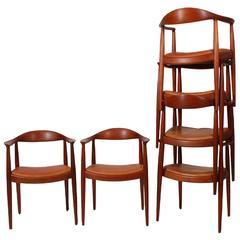 Set of Six Teak Classic Chairs by Hans Wegner for Johannes Hansen