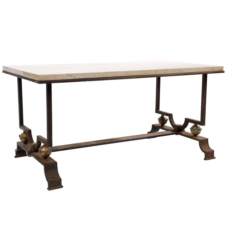 Quinet & Poillerat Wrought Iron Coffee Table  For Sale