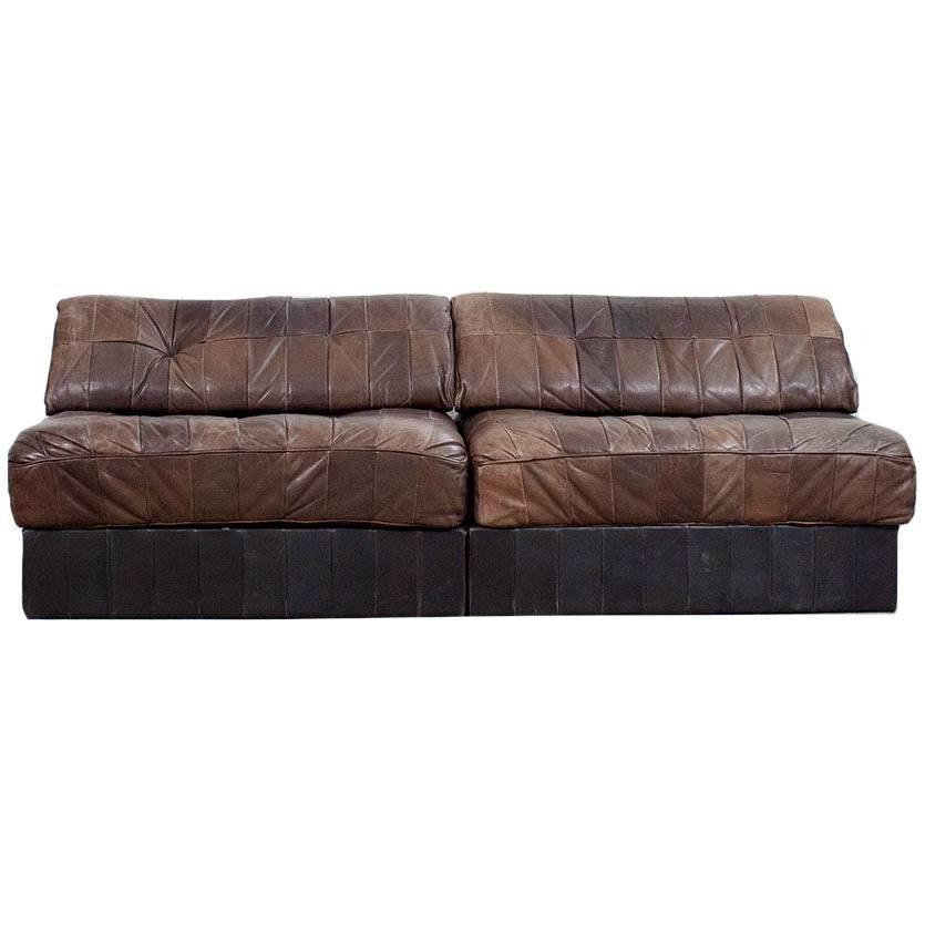de sede ds 88 patchwork in cigar brown leather module sofa for sale at 1stdibs. Black Bedroom Furniture Sets. Home Design Ideas