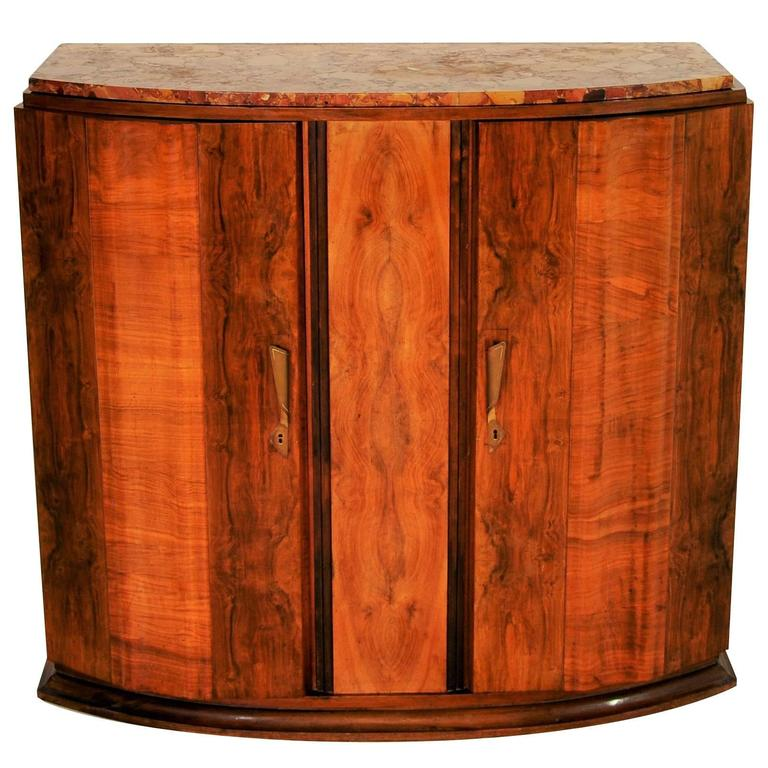 art deco walnut commode with colorful marble top for sale at 1stdibs. Black Bedroom Furniture Sets. Home Design Ideas