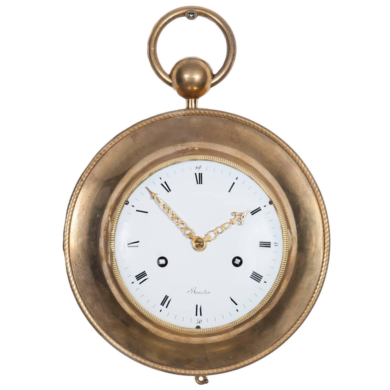 Late Louis XVI Bronze Ormolu Striking Wall Clock Circa