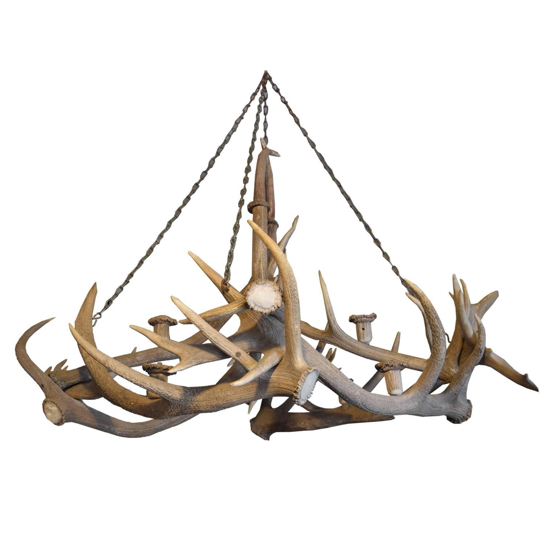 Elk Antler Chandelier from a Bavarian Hunting Lodge at 1stdibs