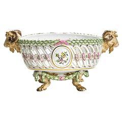 Antique Pierced Meissen Rams Head Footed Basket, 19th Century