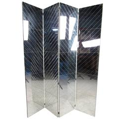 Tall Vintage Mirrored Room Divider