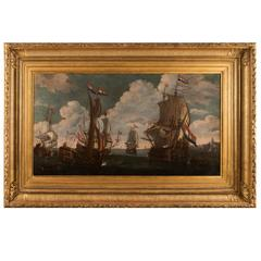 17th Century Old Masters Oil on Canvas Marine Attributed to Van de Velde