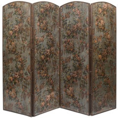 French Screen Paper on Leather from the 19th Century Decorated with Flowers