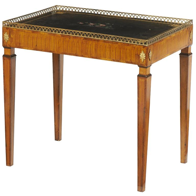 18th Century Russian Tea Table on Walnut with Painted Metal Top
