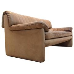 De Sede DS-85 Mid-Century Two-Seat Sofa in Soft Thick Brown Neck Leather