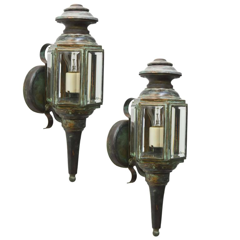 Pair Of Exterior Carriage Lights With Vertigris Finish At