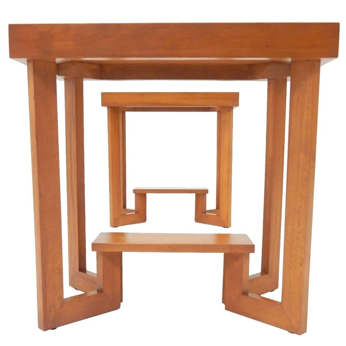 Pair of 1930s Geometric Side Tables in the Manner of Frank Lloyd Wright