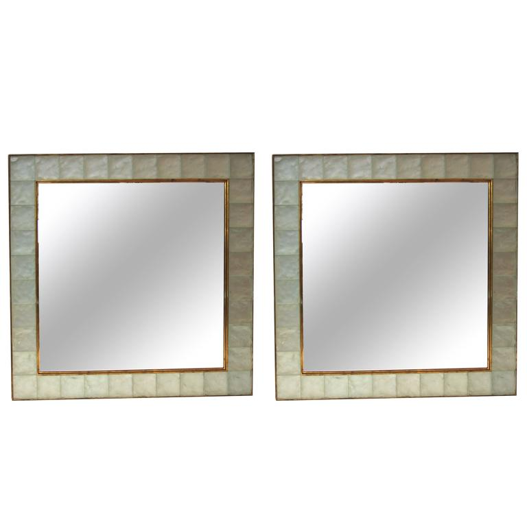 """Ghiró Pair of """"Pastis"""" Wall Mirrors, Gold Brass and Crystal Glass, circa 2000"""