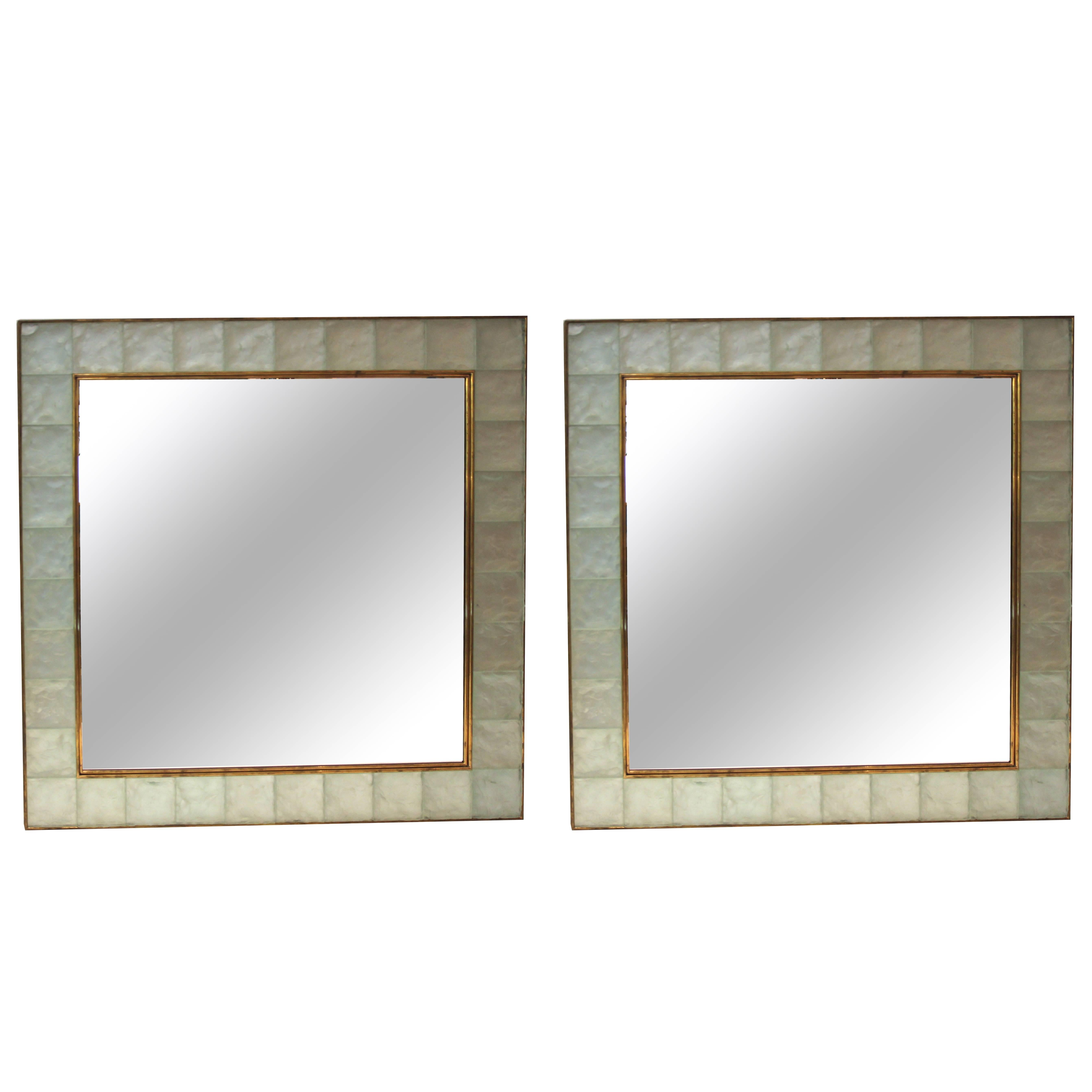 "Ghiró Pair of ""Pastis"" Wall Mirrors, Gold Brass and Crystal Glass, circa 2000"