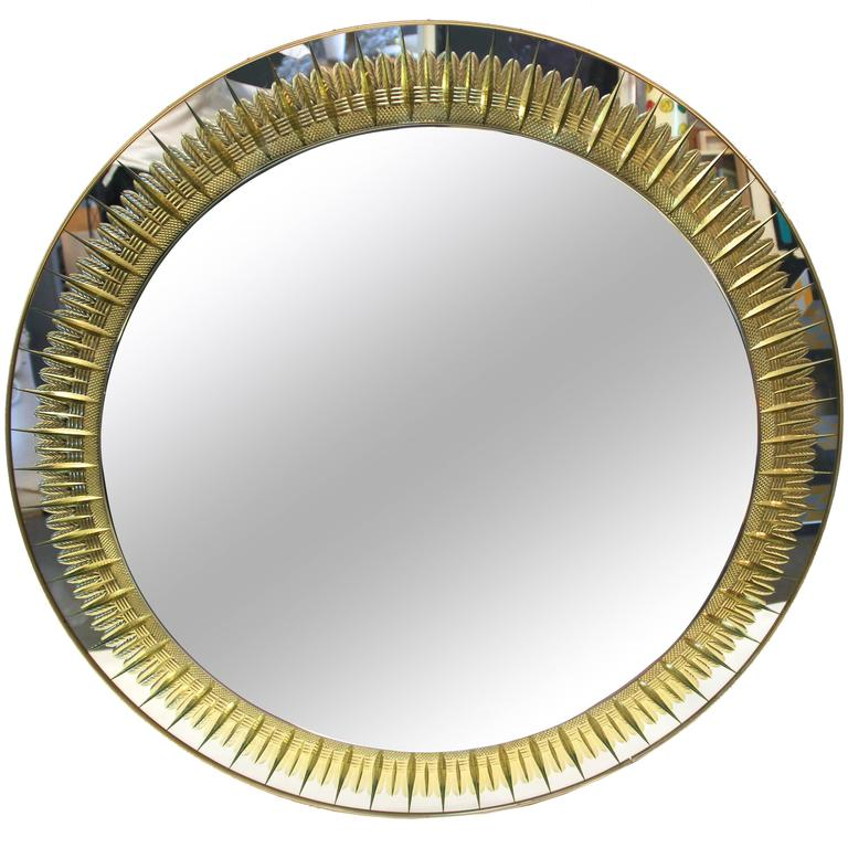 Cristal Art, Round Wall Mirror, circa 1970, Italy For Sale