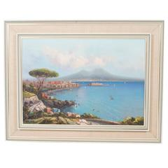 Vintage Oil Painting of the Bay of Naples