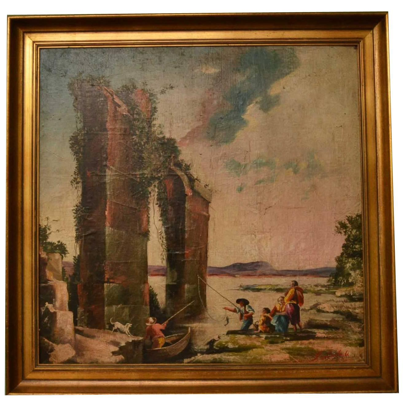 Antiques Oil Painting Roman Ruins Elegant In Style Other Antique Decorative Arts