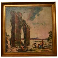 Vintage Oil Painting Classical Roman Ruins, 20th Century