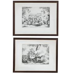 Pair of Italian Country Framed Engravings, circa 1830