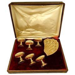Tortez Rare French Sterling Silver 18-Karat Gold Strawberry or Olive Serving Set