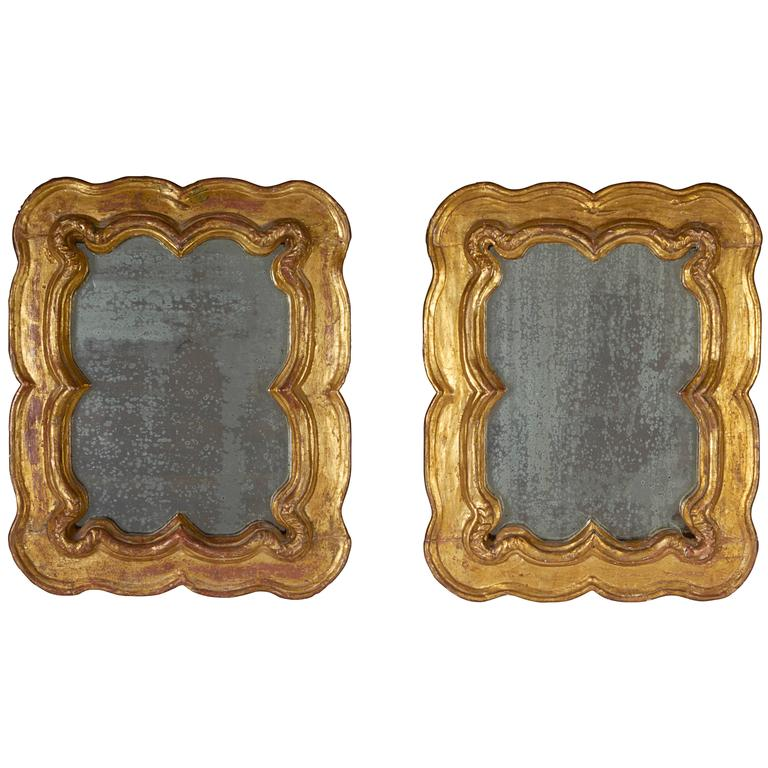 Pair of Venetian Hand-Carved Giltwood Mirrors, Late 18th-Early 19th Century