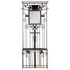 Art Deco Wrought Iron Hall Tree with Mirror