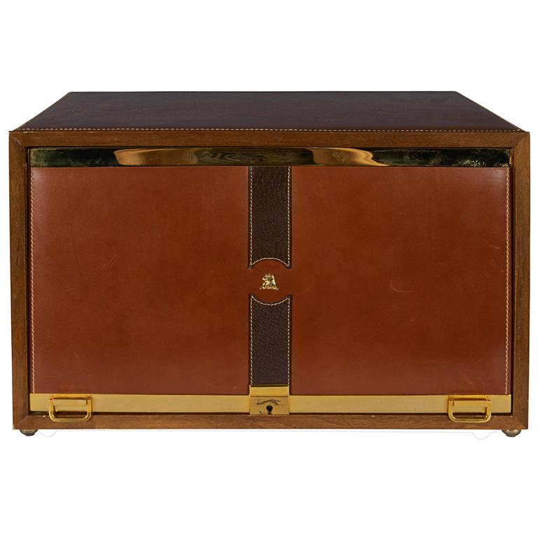 1482d342e Mark Cross Men's Jewelry Box in Leather and Brass For Sale at 1stdibs