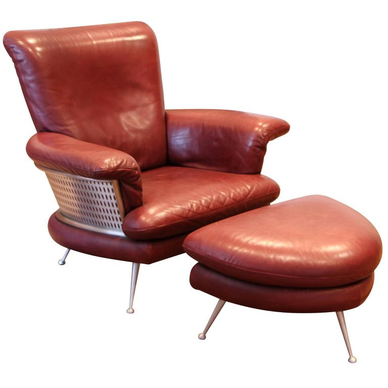 leather jetson chair and ottoman by rolf benz for cy mann at 1stdibs. Black Bedroom Furniture Sets. Home Design Ideas