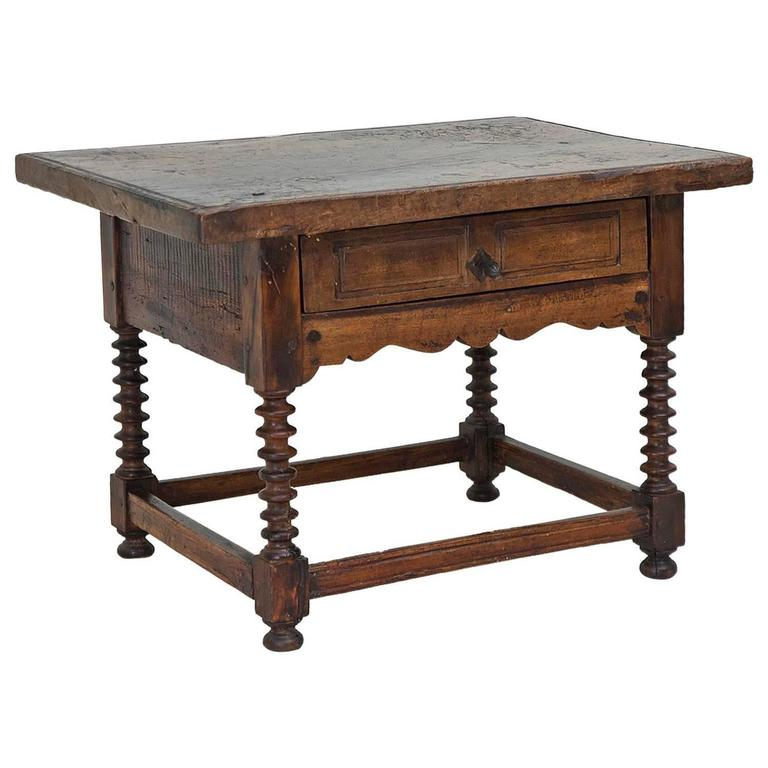 18th century rustic spanish shoemaker 39 s table in walnut for Table in spanish
