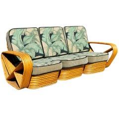 Restored Paul Frankl Style Six-Strand Square Pretzel 3-Seater Sofa