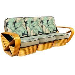 Restored Paul Frankl Style Six Strand Square Pretzel  Sofa