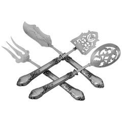 Veyrat French Sterling Silver Dessert Hors D'oeuvre Four-Piece Set, Art Nouveau